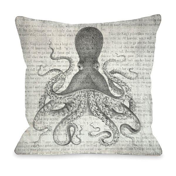 OneBellaCasa Gray Vintage Octopus Indoor/Outdoor Throw Pillow ($35 ...