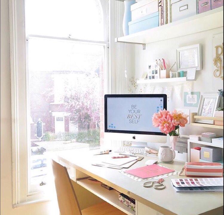 Cute, small workspace area. Tia's DIY Home Ofc Decor in