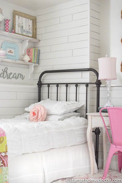 From Junk Room To Beautiful Bedroom The Big Reveal: Girls Room Makeover. Shiplap Walls, Wrought Iron Bed, A