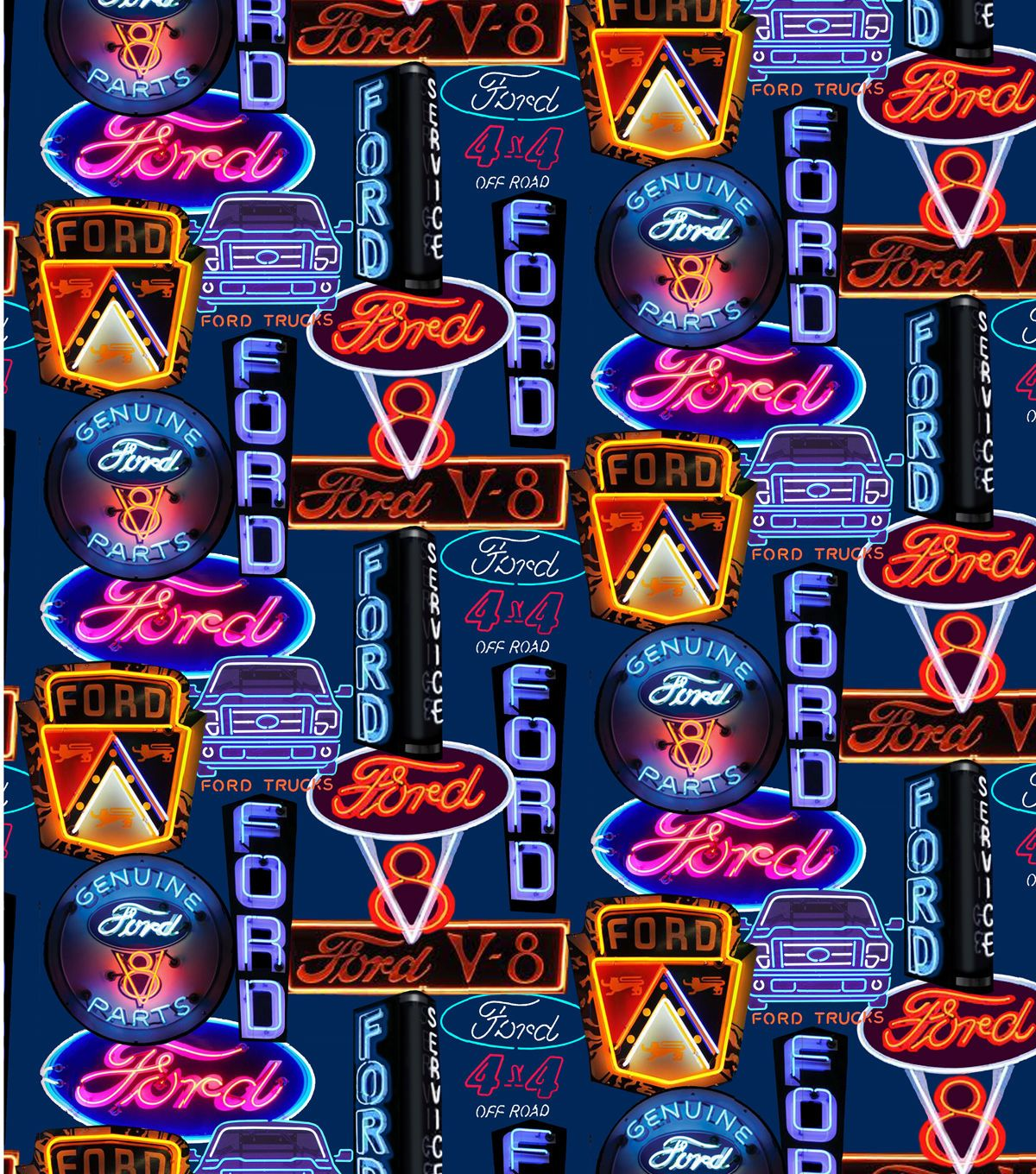 Ford Neon Signs Cotton Fabric Joanns Fabric And Crafts Car