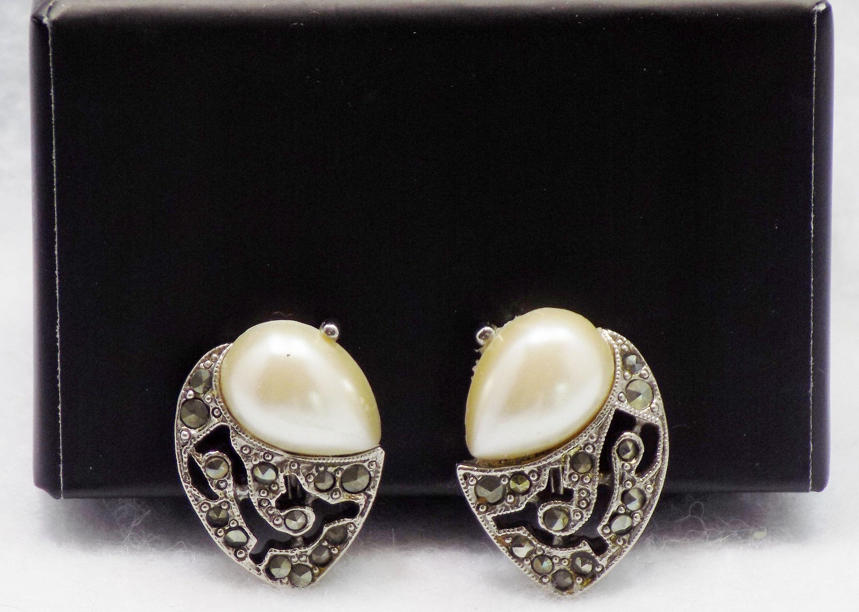 Spring Clearance, Vintage Pearl Earrings , Marquisette