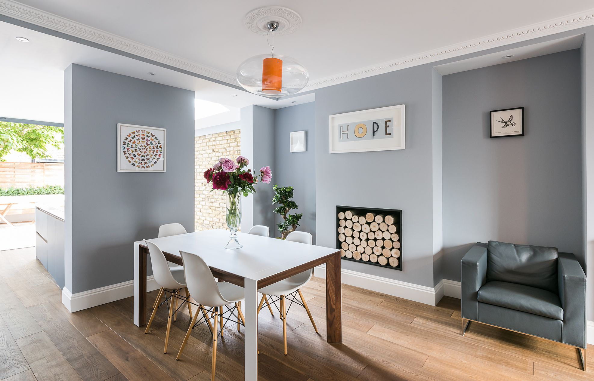 Nautical Themed Family Room Leading To The Open Plan Kitchen It Has A Beautiful Marble Fireplace And Traditional Flooring Which Helps Warm Up