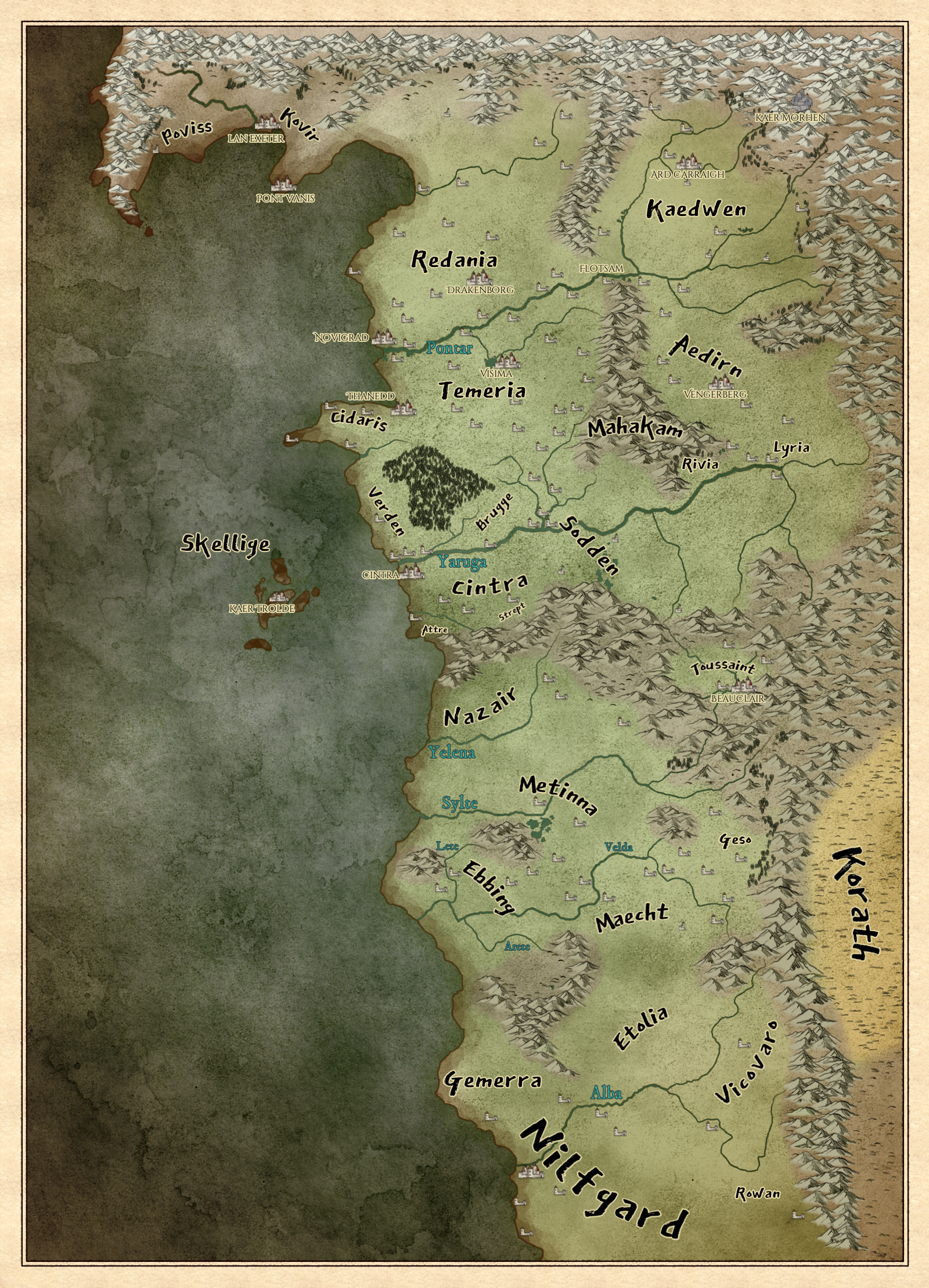 Risultato immagini per the witcher rpg map""