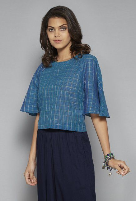 6ccbb063290a6 Bombay Paisley by Westside Blue Crop-Top