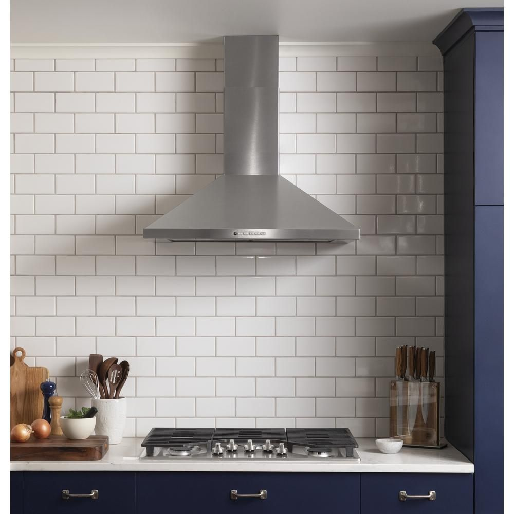 Ge 30 In Convertible Wall Mount Ran Hood With Light In Stainless Steel Silver Wall Mount Range Hood Appliances Kitchen Remodel