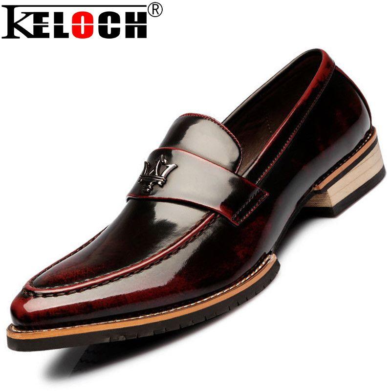 Fashion Flats Men Formal Patent Genuine Leather Oxfords Shoes For Men Flats Moccasin Men Dress ...