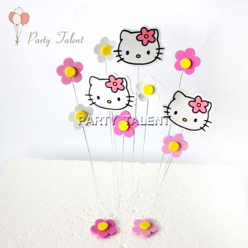 2.84$ Watch now - Party supplies 1set Hello Kitty Birthday Cake Toppers for  Kids Children