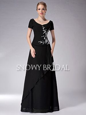 a025356260 Black V-Neck Embroidered Chiffon Long A-Line Mother of Bride Dress - US   111.99 - Style M1494 - Snowy Bridal