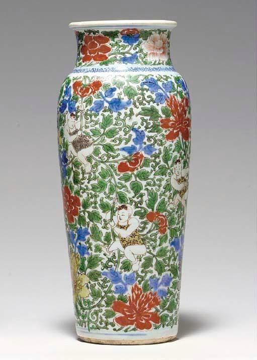 A wucai sleeve vase, Transitional period, ca