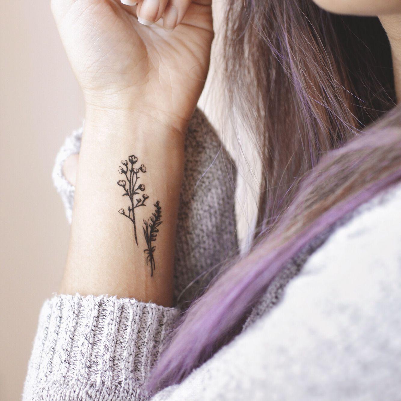 Dainty Floral Tattoo Purple Hair Minimalist Tattoo ...