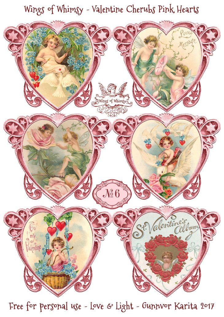 Die Cut Valentine Hearts Pink No. 1 & 3-6 | Freebies printable ...