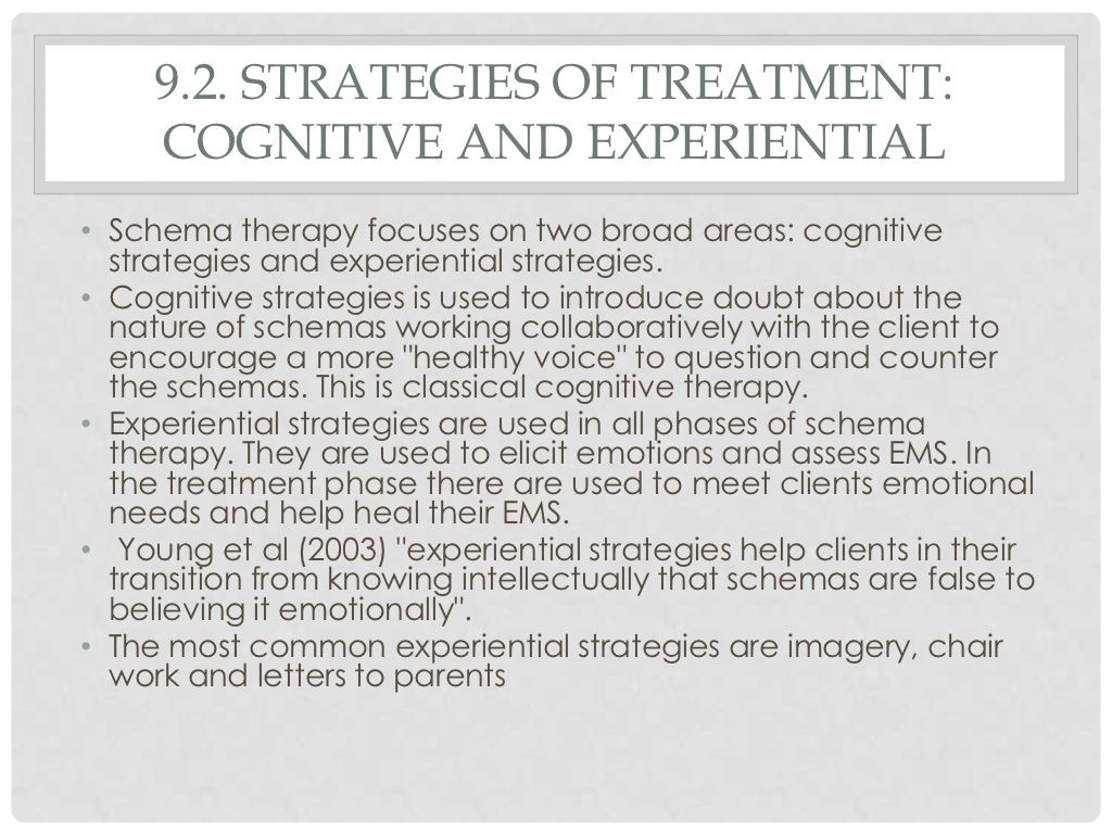 Strategies Of Schema Therapy