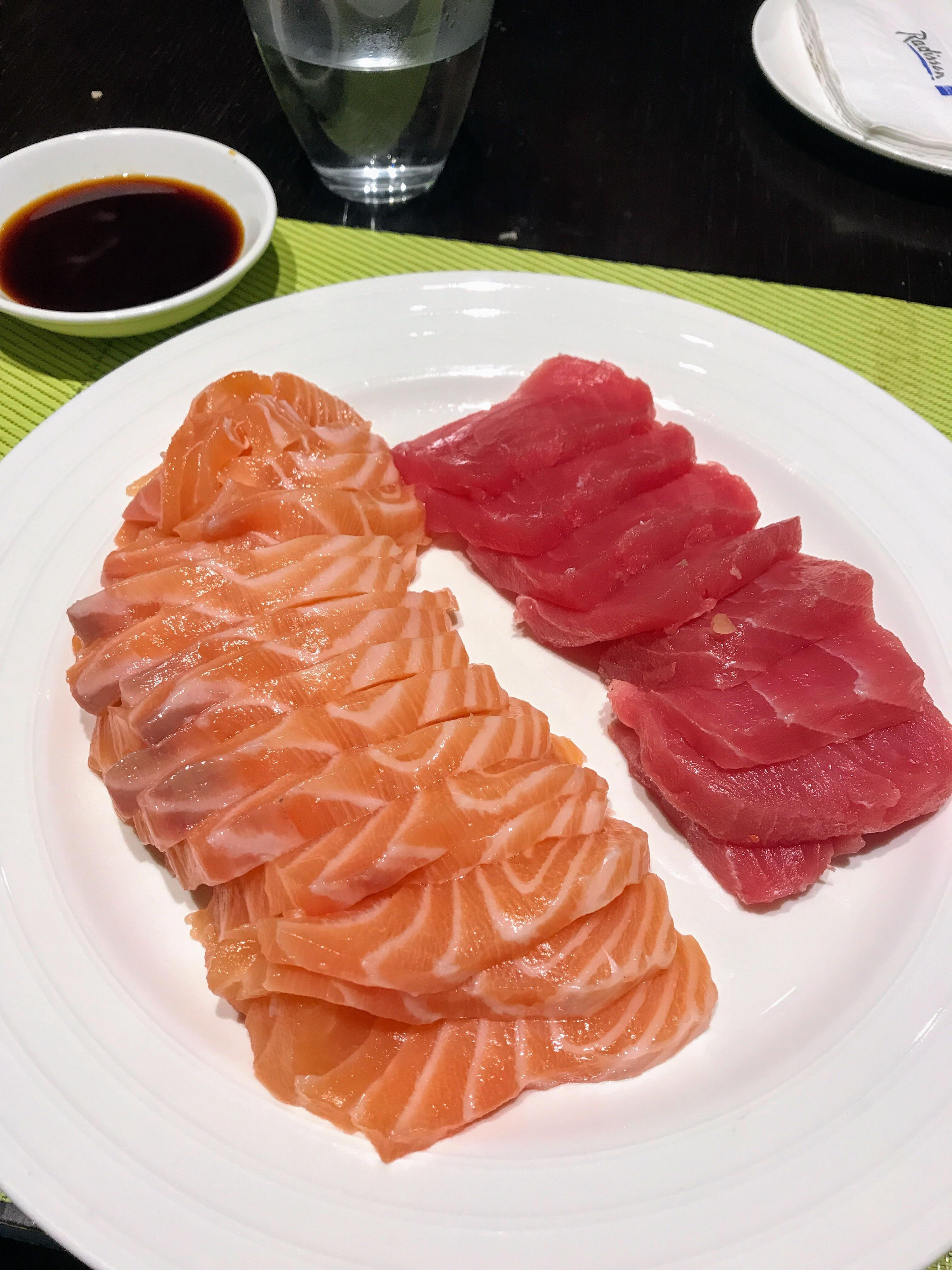 A delicious misinterpretation of quantity for salmon and tuna sashimi in Chongqing China [3024x4032]