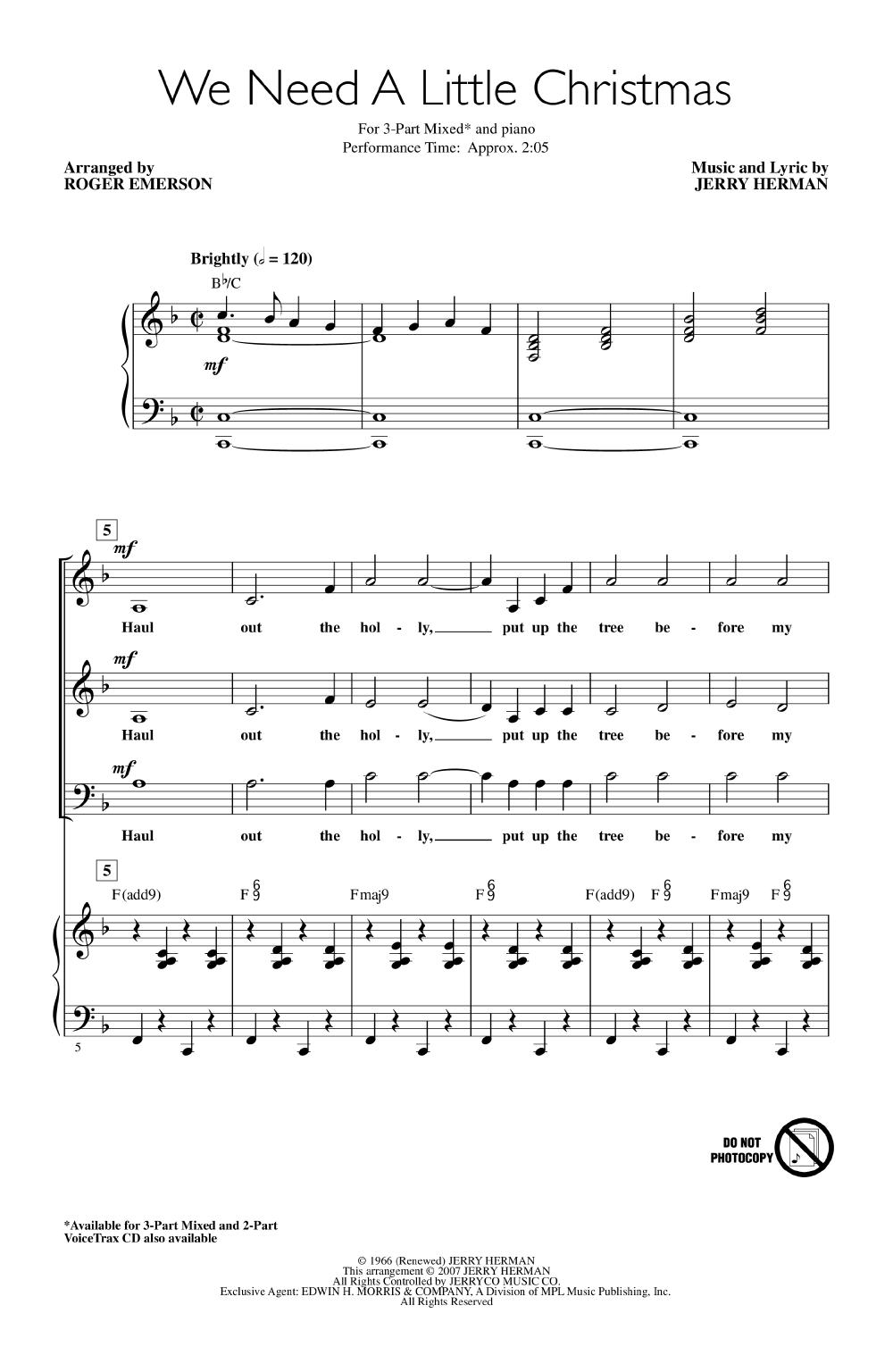 We Need a Little Christmas (ThreePart Mixed J.W. Pepper