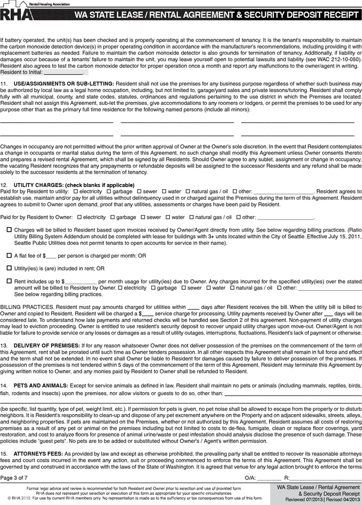 Washington State Month To Month Rental Agreement Termination Of Tenancy Agreement Rental Application