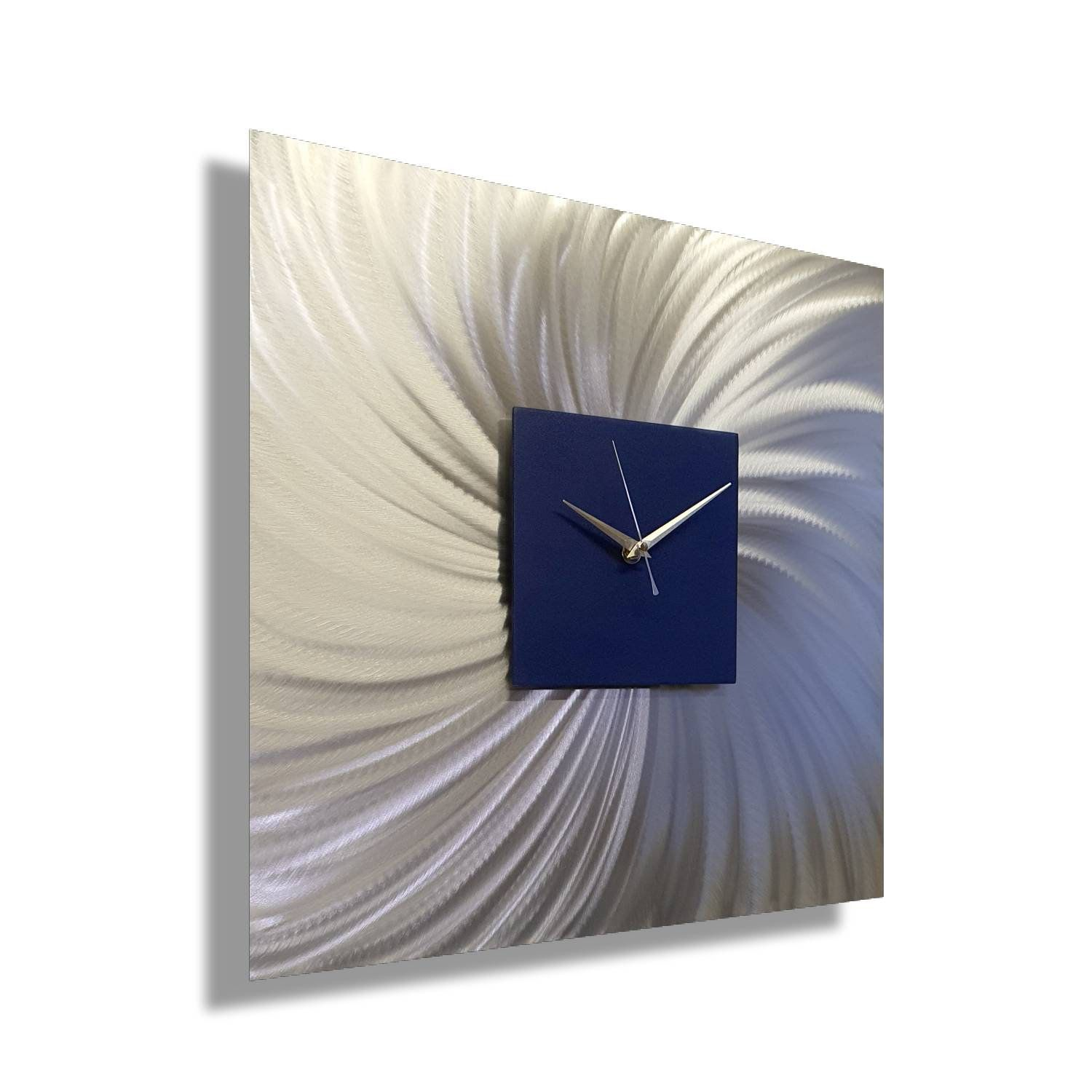 Navy Blue Wall Art Clock Silver Modern Home Decor Sapphire Etsy In 2020 Navy Blue Walls Metal Sculpture Wall Art Navy Blue Wall Art