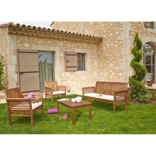 CARREFOUR Salon de jardin HanoÏ - 1 table basse + 1 sofa + 2 ...