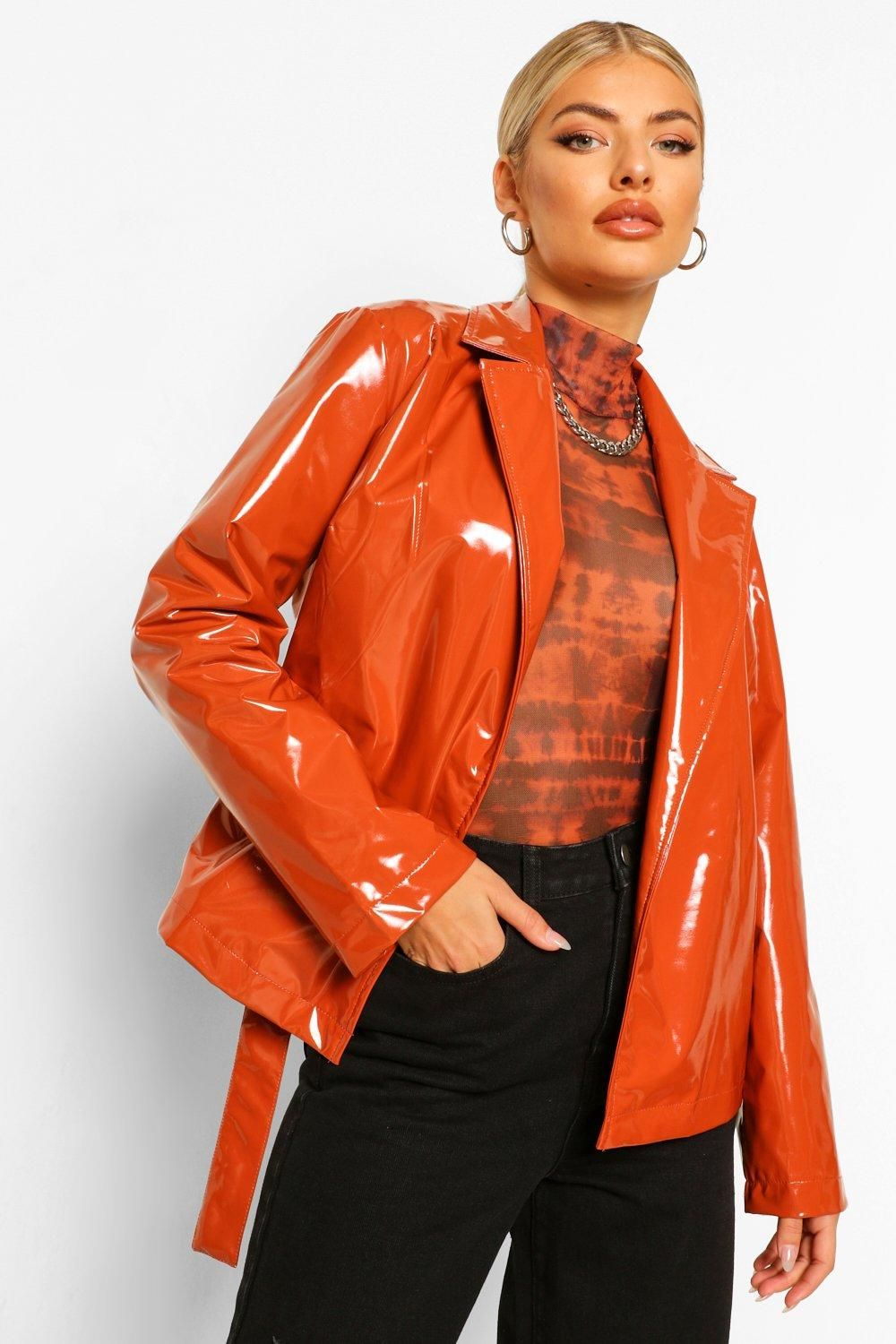 Vinyl Wrap Jacket Boohoo In 2020 Wrap Jacket Jackets Orange Jacket