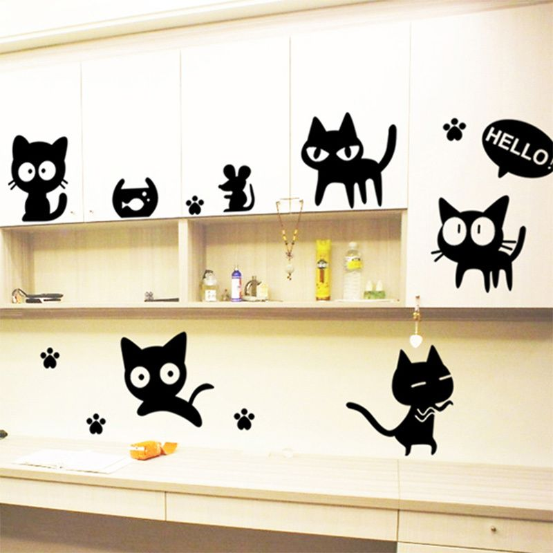 Hello Cute Cartoon Black Cat Wall Decal For Kids Room Home Decor - Vinyl decal cat pinterest