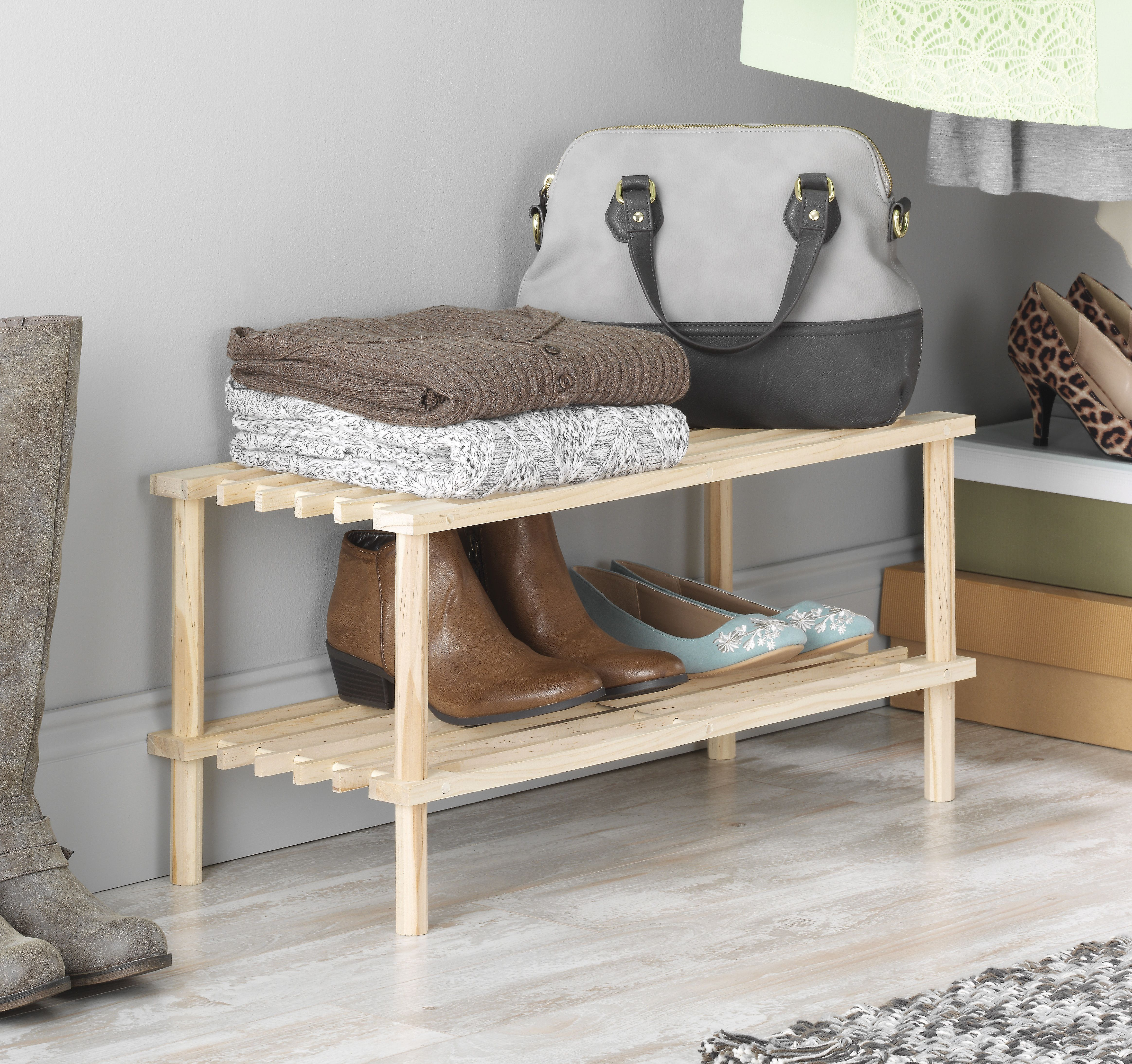 Whitmoru0027s Natural Wood Household Shelves Is An Easy Solution For Shoe,  Sweater, And Accessory Storage. Use It In The Garage, An Entryway, Or In  The Closet; ...