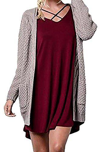 Pandapang Women's Loose Pocket Knit Open Front Cardigan Sweaters Coat Coffee XXL