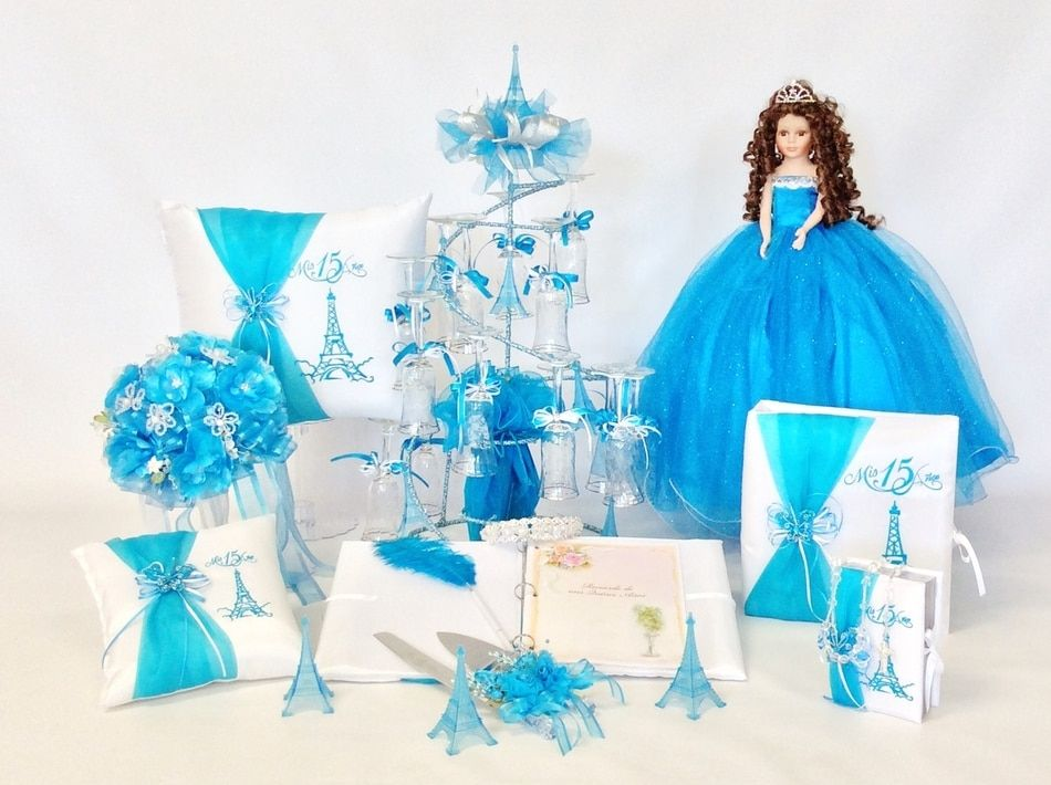 15 Anos Dolls: Eiffel Tower Quinceanera Package Toasting Set, Doll