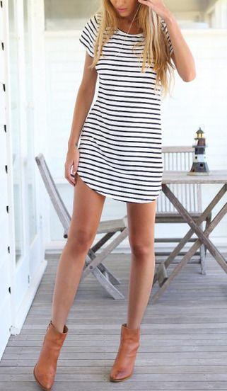 41052fe162 Black White V Neck Striped Slim Dress -SheIn(Sheinside) Mobile Site ...