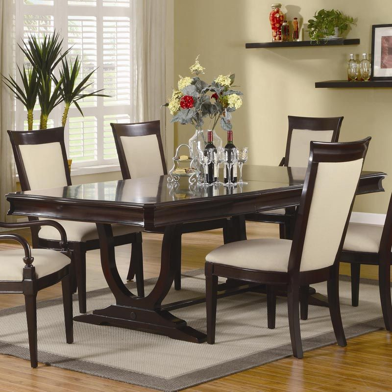 """Coaster Beverly Double Pedestal Dining Table With 18"""" Leaf"""