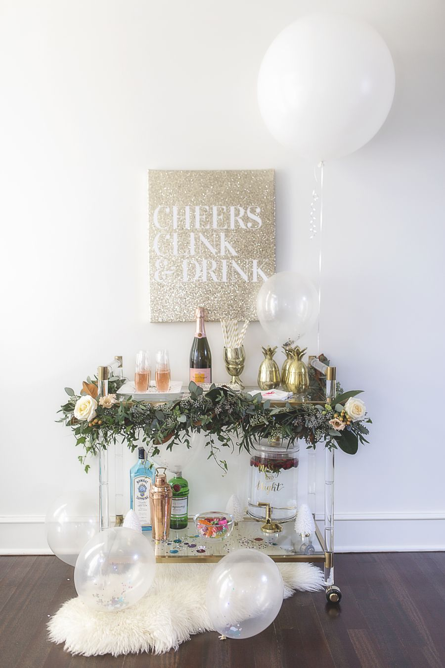 A festive bar cart perfect for all of your new yearus celebrations