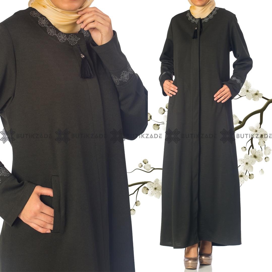 Nergis Kislik Ferace Yesil Giyim Elbise