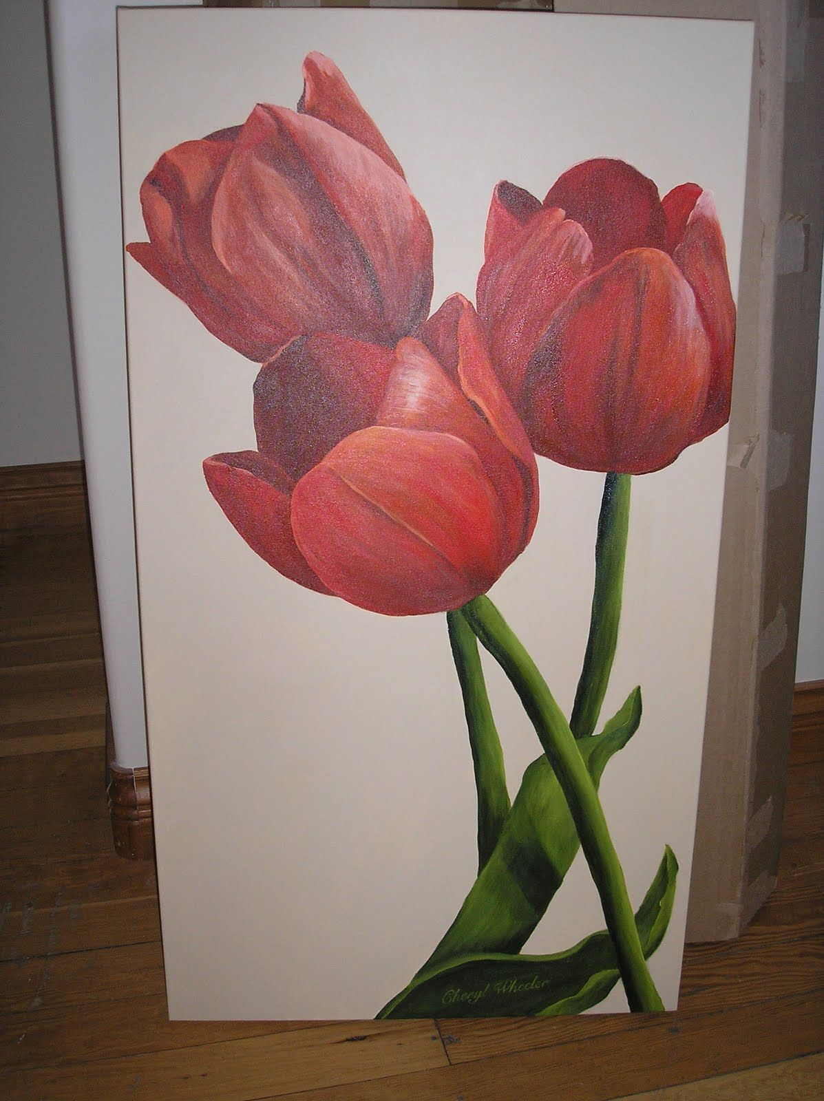15 Marvelous Interior Painting Projects Ideas Tulip Painting Flower Painting Flower Art