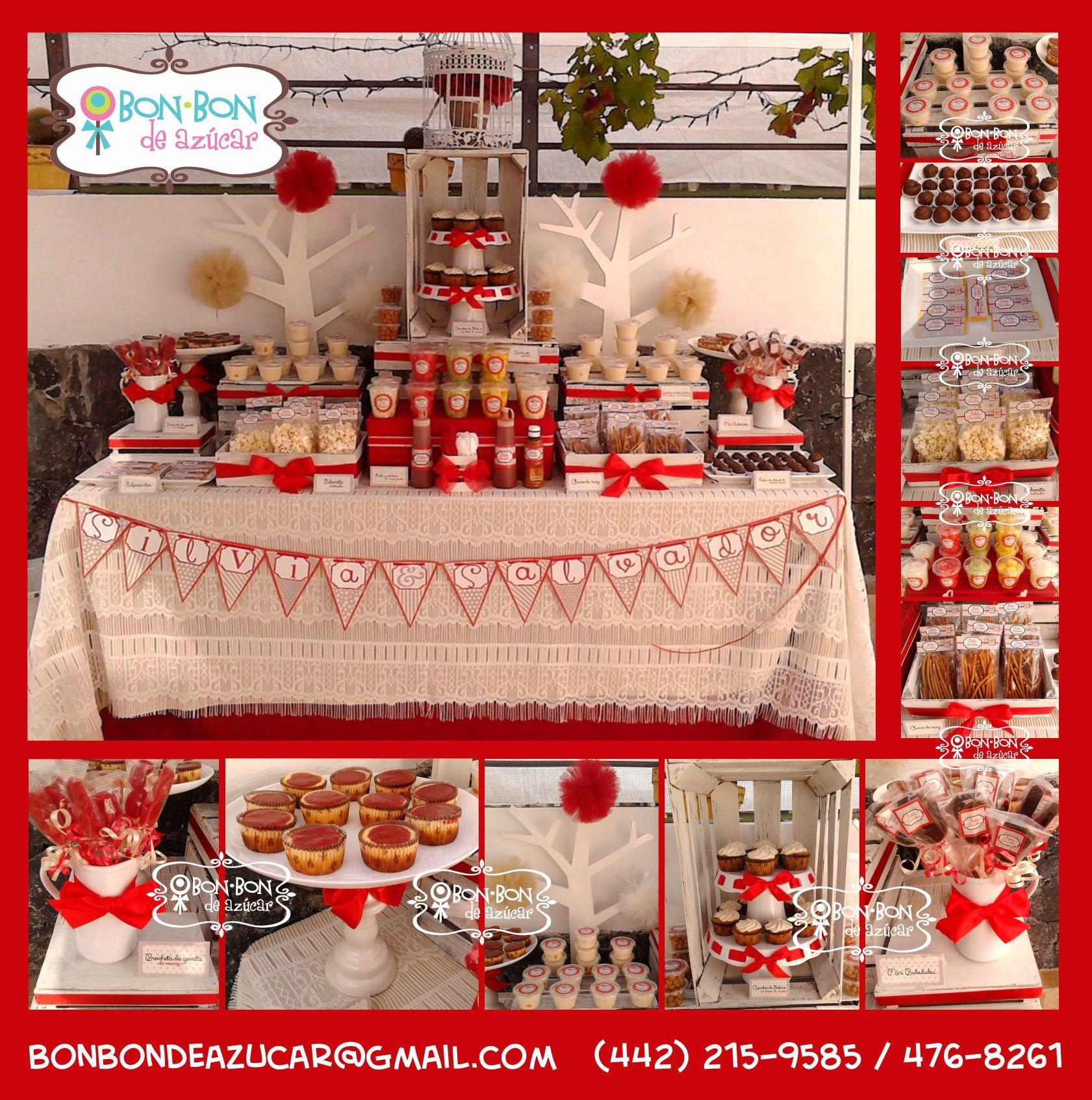 Mesa para aniversario de boda estilo vintage con snacks - Mesa de dulces para boda ...