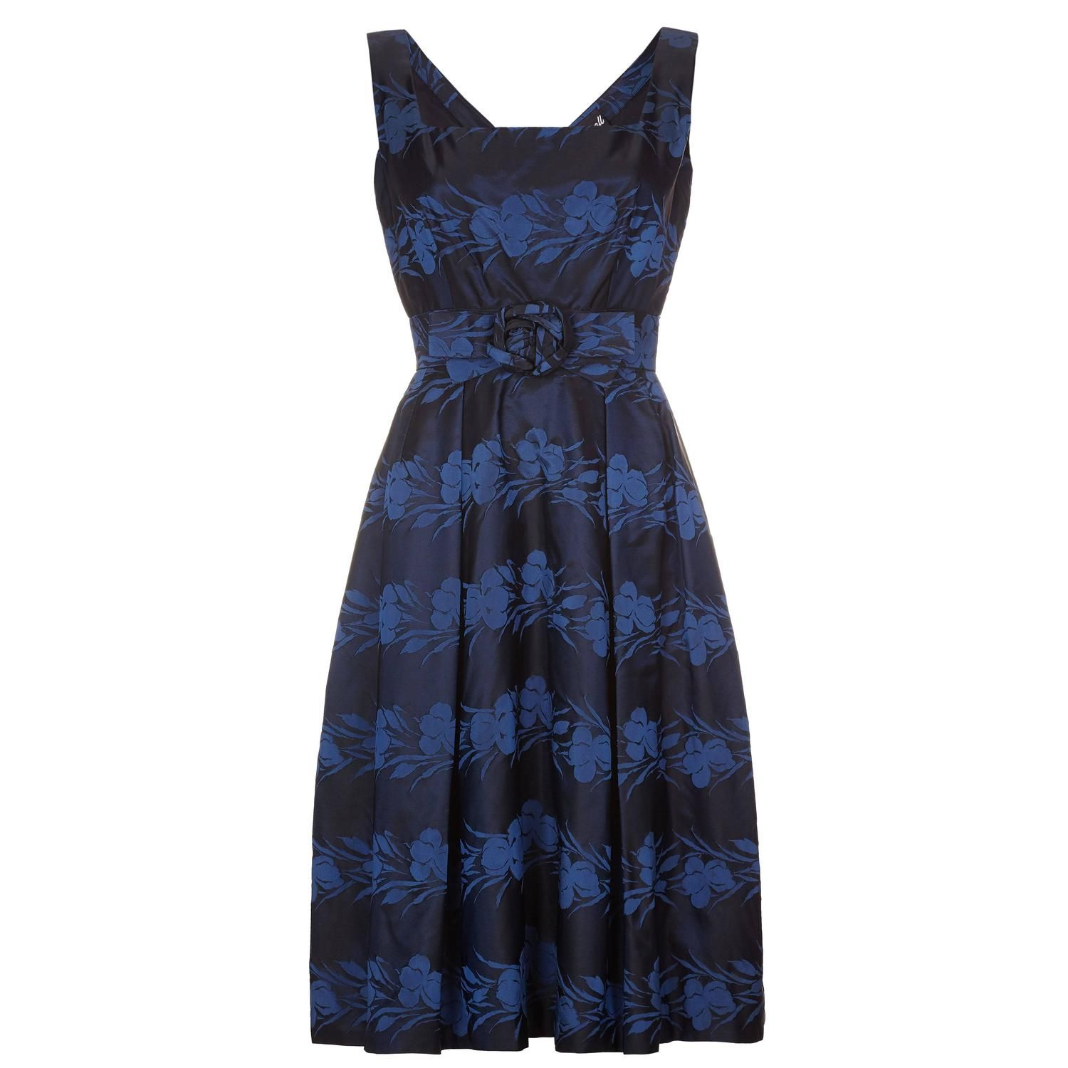 S susan small silk brocade midnight blue and french blue dress
