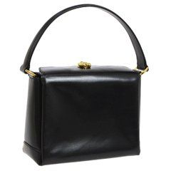 72194c9db52 Gucci Black Leather Gold Emblem Kelly Style Party Evening Top Handle  Satchel Bag