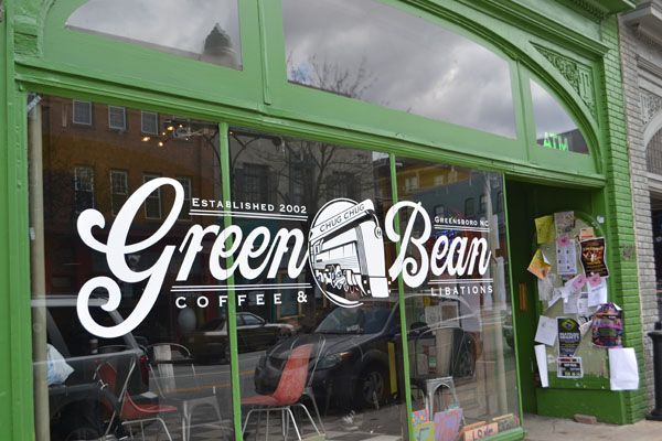 Green Bean Storefront, Green Bean    341 S. Elm Street, Greensboro, NC 27401    (336) 691-9990  Cuisine:      Desserts, Coffee Houses and Cafes    Good For:  Casual Dining, Bar/Lounge, Event Venue, Live Entertainment, Open Early, Breakfast
