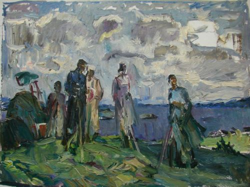 Russian Ukrainian Soviet Oil Painting Impressionism Soc Realism Harvesting | eBay