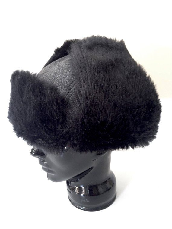 0724ce292ce98 Fur Trappers Hat - Roots Faux Fur Hat - Vintage Trapper Hats Fur - Mens Hat  or Womens Hat - Nordic W