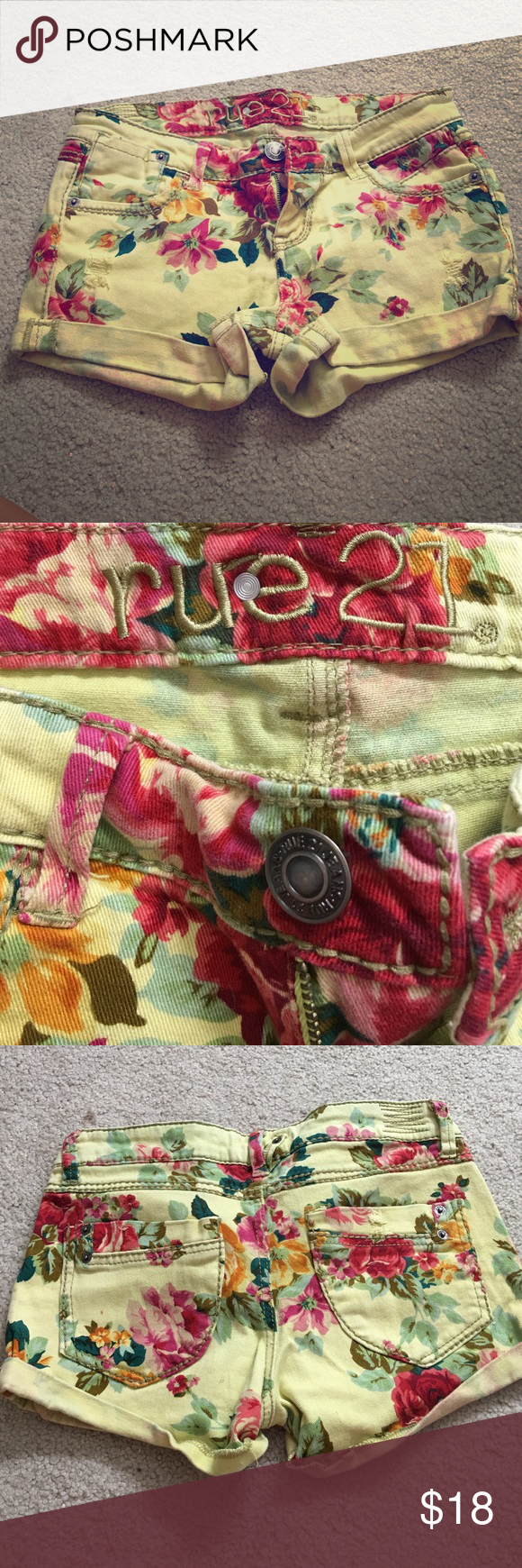 Rue 21 yellow and red flower print shorts Comfortable stretchy shorts! Yellow with red flowers print. From Rue 21! In great condition. Rue 21 Shorts