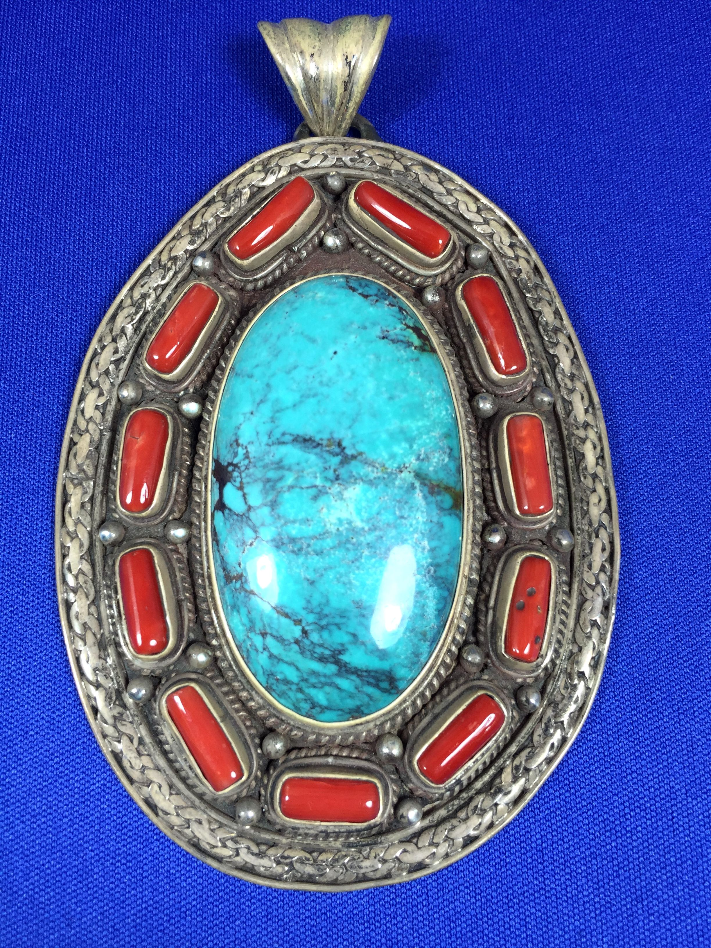 Nepalese Sterling Silver Spider Web Turquoise and Coral Pendant