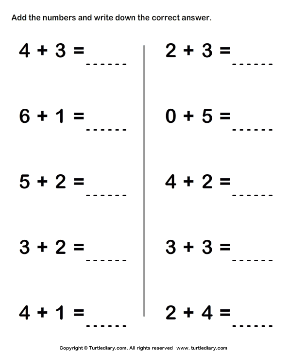 One Digit Addition Worksheet1 Kindergarten Math Worksheets Addition Math Worksheets Addition Worksheets