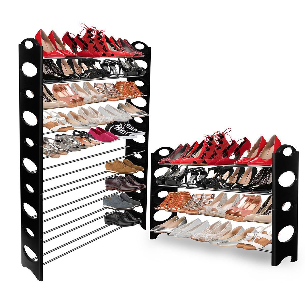 Delightful Oxgord Shoe Rack Tower Storage Organizer For Up To 50 Pairs Of Shoes (Black)