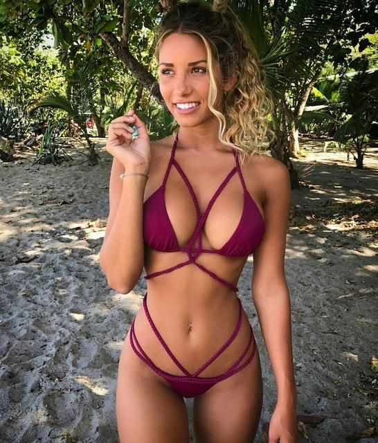 928415670f 2017 New Women Swimwear Manual Weaving Rope Sexy Black Red Bikini Pure  Color Thong Two Pieces Swimsuit Beach Wear Bathing Suit