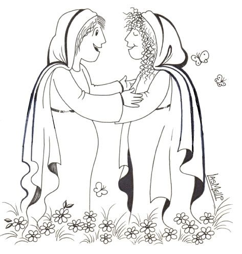 Mary Visits Elizabeth Coloring Page Google Search Sunday