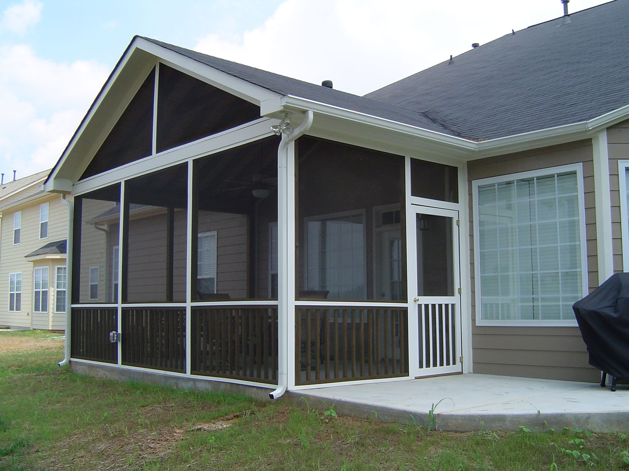 aluminum white with slope in frame screened porch screen room single roof enclosures patio pictures designs