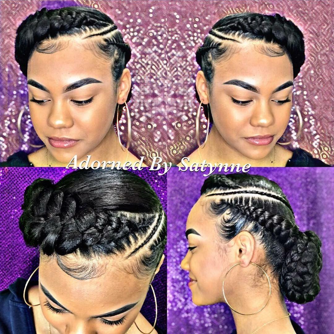 Crown Braid With Thin Braid In Between Cornrow Hairstyles Natural Hair Styles African Braids Hairstyles