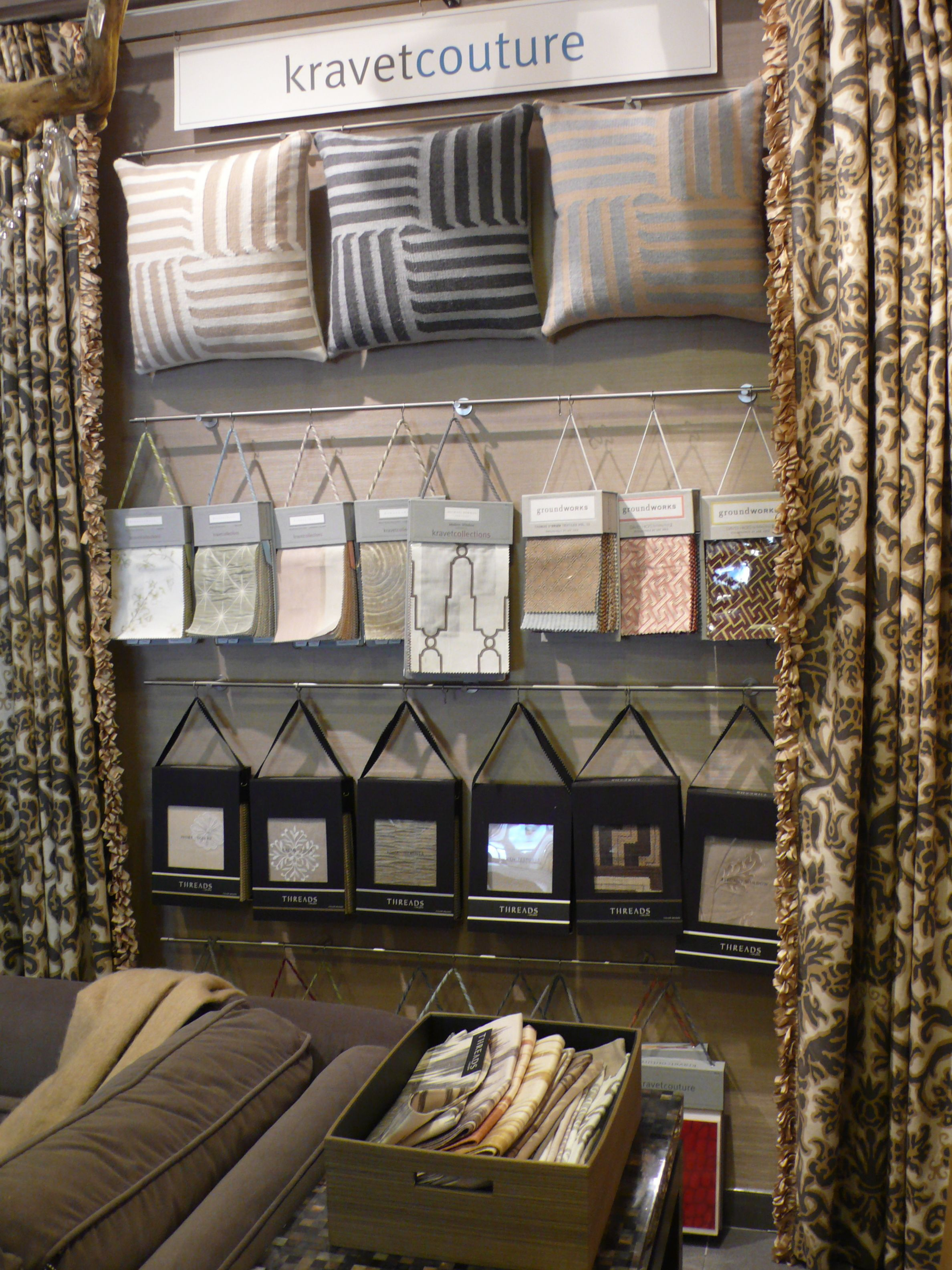 Kravet couture showroom display at workroom couture home for Curtain display ideas