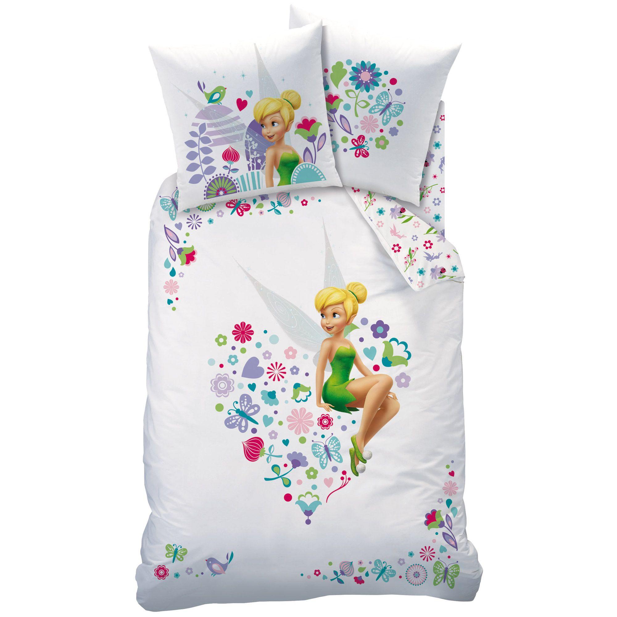 Parure Housse De Couette 140x200cm 100 Coton Taie D Oreiller Fee Clochette Coeur Fairies Disney Disney Comforter 100 Cotton Duvet Covers Tinkerbell Wings