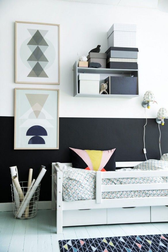Une chambre d\u0027enfant en noir et blanc Kids rooms, Room and Bedrooms