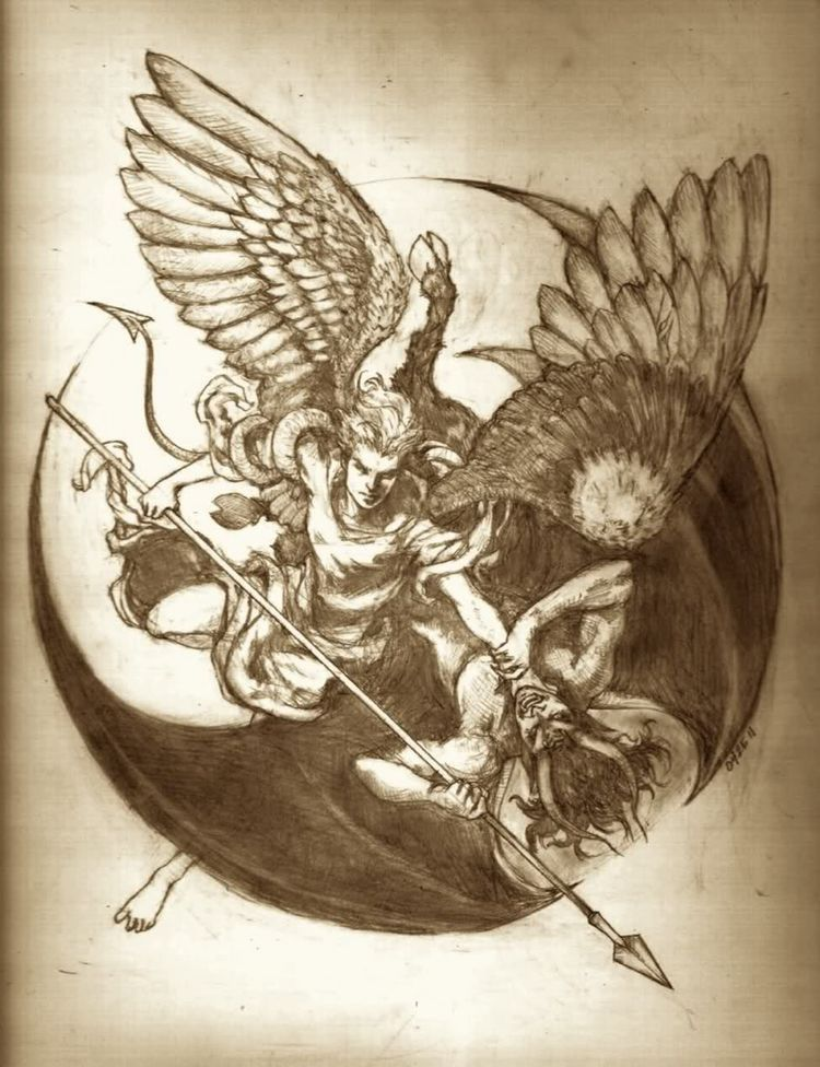 Tatuajes Angeles Llorando heaven & death | ~•fantasy{}creatures•~ en 2018 | pinterest