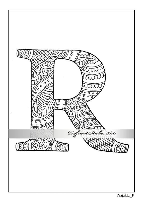 Letter R Coloring Page Printable Coloring Pages Coloring Book For Adults Zentangle Alphabet Pers Alphabet Coloring Pages Coloring Letters Coloring Pages